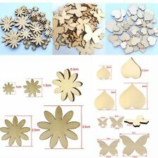 50Pcs  Sizes Sewing Craft Wood Flower Butterfly Heart Scrapbooking Buttons
