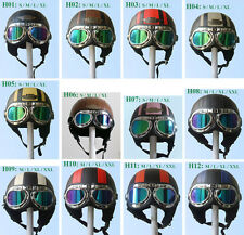 Leather Covered Half Face Scooter Motorcycle Vespa Helmet with Goggles/Visor