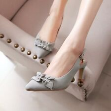 New Womens Pointed Toe Slingbacks Kitten Mid Heel Ankle Strap Roman Sandal Shoes