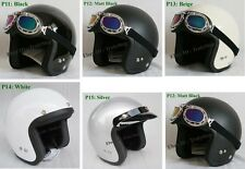 New Custom Motorcycle Jet Open Face Scooter Chopper Vespa Helmet Goggles/Visor