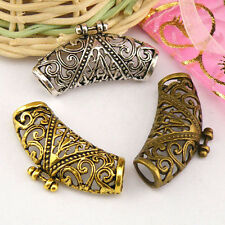 8Pcs Tibetan Silver,Antiqued Gold,Bronze Flower Tube Spacer Connectors M1357