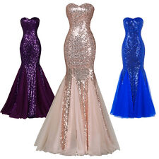 Long Mermaid Bridesmaid Dress Formal Evening Cocktail Prom Party Sequins Gowns