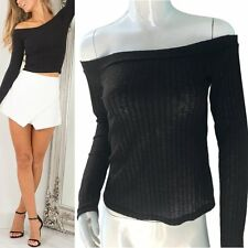 Sexy Women Thin Jumper Knitwear Crop Top Blouse Off Shoulder Knitted Sweater S15