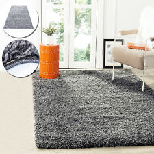LARGE GRAY NON-SHED SOFT THICK PLAIN FLUFFY SHAGGY RUG BEDROOM MATS FLOOR CARPET