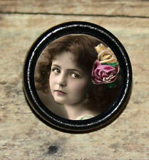 Victorian photo portrait GIRL w ROSE Altered Art Tie Tack or Ring or Brooch pin