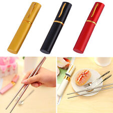 Camping Travel Outdoor Portable Stainless Steel Fork Spoon Chopsticks Set CU