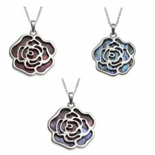 BellaMira Abalone Paua Shell Red Roses Silver Pendant Necklace Earrings Boxed
