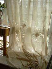 2 X French Country Rustic Tab Top Beige Cotton Linen Crochet Lace Curtain F001