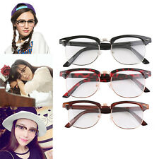 Fashion Retro Optical Half Frame Clear Lens Glasses Nerd Geek Eyewear C^^