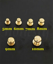 5pcs Leather Craft DIY Bag Tape Brass Flat Head Classic Screw Nails NEW
