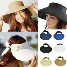 Ladies Women Summer Sun Beach Folding Roll Up Wide Brim Straw Visor Hat Cap A^^