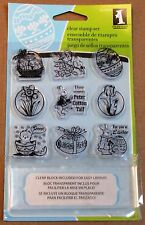 "INKADINKADO ""EASTER INCHIE BUNDLE""  CLEAR STAMP SET W/ ACRYLIC BLOCK - NEW"
