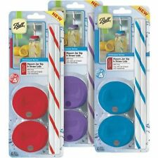 """2 Packs of 4 sets Ball Mason Jar Sip and Straw Lids """"Pick Colors ~ Best Prices!"""""""