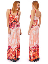 Long Coral Multicoloured Ocean Print Strappy Summer Maxi Dress Day-Holiday-Beach