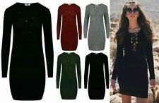 Womens Ladies Long Sleeve Lace UP Ripped Knitted Bodycon Mini Dress Size UK 8-14