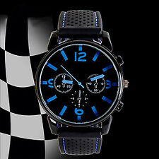 MEN FASHION NUMERAL DIAL SILICONE BAND SPORT ANALOG QUARTZ WRIST WATCH STYLISH