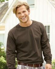 Hanes Mens Cotton Blank Tagless Long Sleeve T Shirt 5586 Deep Forest, Size: 3XL