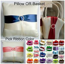 Custom Ribbon Color IVORY Flower Girl Basket OR Ring Bearer Pillow