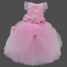 Baby Pageant Dress Tutu Princess Pink Formal Infant Dresses 1 Year Girl Birthday