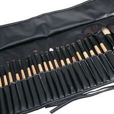 32Pcs Facial Make Up Brushes Set Cosmetic Brush Kit Goat Hair Brush+ Leather Bag