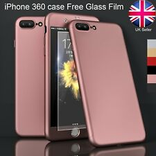 Hard ultra thin iphone 7 360 case and screen protector Tempered Glass 5 6 S Plus