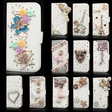 Bling Rhinestone Flip Wallet PU Leather Stand Case Cover For iPhone Samsung E