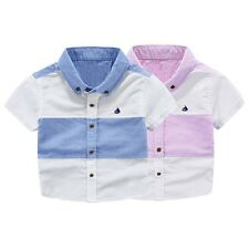 2-7Y Summer Kids Baby Boys Shirts T shirts Short Sleeve Casual Blouse Tops