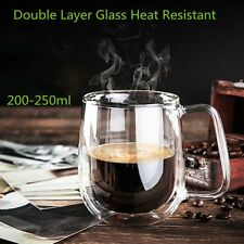 Transparent Double Layer Glass Heat Resistant Tea Coffee Mug Insulation Cup AU