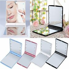 LED Make Up Mirror Cosmetic Mirror Folding Portable Compact Pocket Gift NW