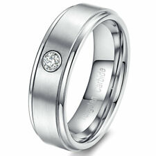 Men's Women Tungsten Carbide Ring Brushed Center Silver ED CZ Stone Wedding Band