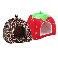 New Dog Bed Pet Dog House Foldable Soft Warm Sponge Leopard Print Strawberry Cav