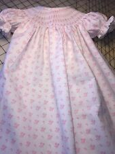 READY TO SMOCK PINK AND WHITE FLOWER PRINT BISHOP DRESS WITH LACE SZ 3MOS TO 3T