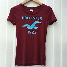 Hollister by Abercrombie & Fitch T-Shirt Burgundy Blue S L UK 10 12 14 RRP£25