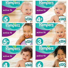 Pampers Premium Protection Active Fit Nappies, Monthly Saving Pack -3,4,4+,5,5+6