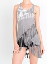 T-Party Gray Tie Dyed Fringed Tunic Tank Top