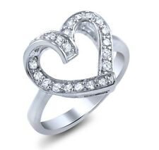 heart love promise cz sterling silver 925 ring pave cocktail statement ring