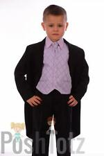 Boys Suits 5pc Black & Lilac Tails Suit Formal Wedding Pageboy suits