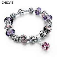 CHICVIE 925 Silver Crystal Charm Bracelets for Women With Purple Glass Beads bra