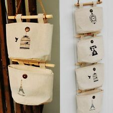 Organizer Fabric Underwear Storage Bags Cotton Pocket Door Wall Hanging Holder