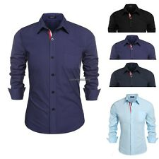 Hot sale Men Casual Shirts cotton Business T-shirt Long Sleeve Slim Fit Tops new
