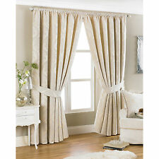 Fully Lined Chenille Curtains + Free Tie Backs - Cream Pencil Pleat Curtain Pair