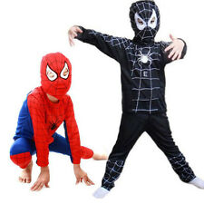 Boy Spiderman Costume Fancy Dress Party Kids Age 3-7 Years Outfit Suit Halloween