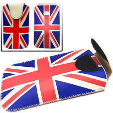 BRITISH FLAG UNION JACK PULL UP PU LEATHER POUCH CASE WITH SECURE VELCRO FLAP
