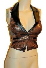 Sexy Black Brown Sequin 70s 80's Glam Rock Evening Party Cleavage Vest Top New