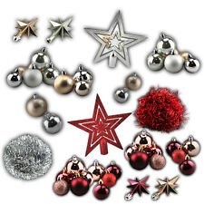36 PIECE CHRISTMAS TREE DECORATIONS SHATTERPROOF BAUBLES GLITTER STAR HOLIDAY