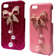 Fashion Luxury Bling Shiny Glitter Pearls Bow Back Hard Case Cover for Phones