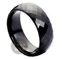 Ladies 8mm Faceted Cut Black IP Tungsten Ring High Polished TS1690