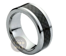 Men's 8mm Beveled Edge Pipe Cut Tungsten w/ Carbon Fiber Center Ring TS1240