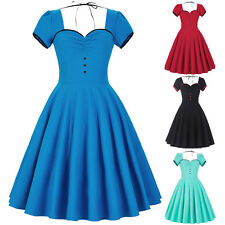 Women Vintage Style 1950s Short Sleeve Pinup Swing Party Evening Housewife Dress
