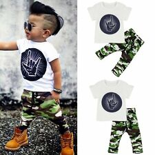 2PCs Toddler Baby Kid Boys Short Sleeve T-shirt & Camouflage Pants Outfits Set